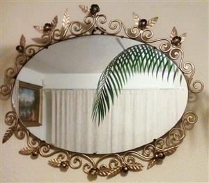 Magnificent Heavy Gold Rose Mirror!!