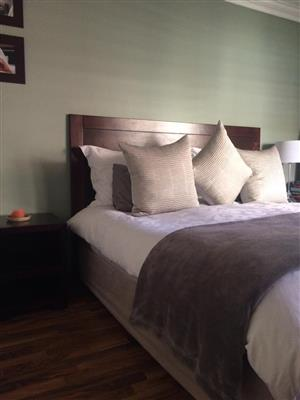 Wooden headboard and pedastals - King size
