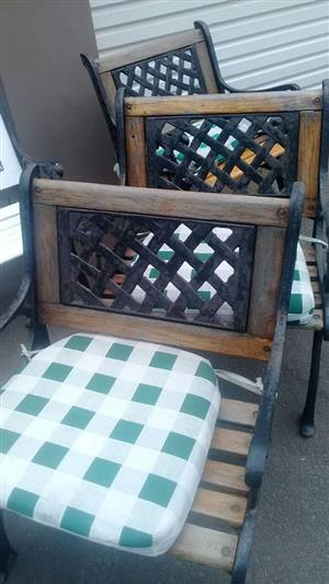 Wooden Patio chairs with pillows