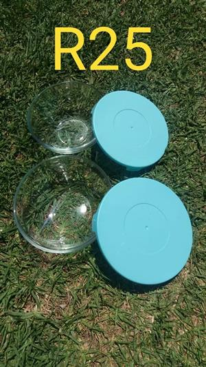 Glass bowls with blue lids for sale