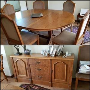 Dining table/chairs and sideboard