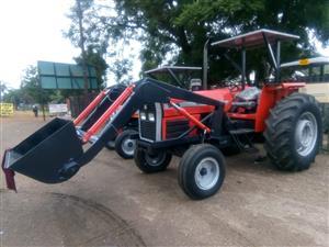 Red Massey Ferguson (MF) 375 Front Loader / Laaigraaf 4X2 Pre-Owned Tractor