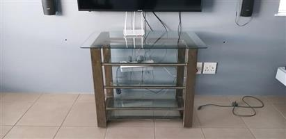 TV stand Metal and glass TV stand.