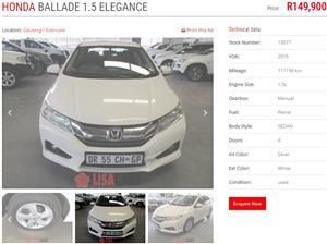 2015 Honda Ballade 1.5 Elegance