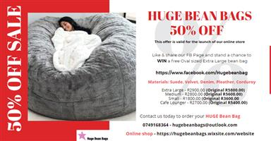 50% OFF SALE - GET YOUR HUGE BEAN BAG TODAY