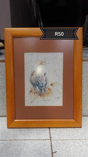 Framed elephant drawing for sale