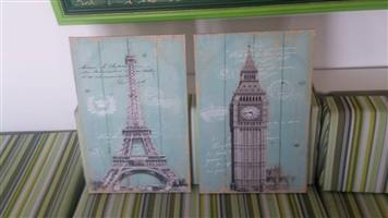 Eiffel and london tower prints