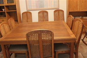 American Oak Wood Table with 8 chairs