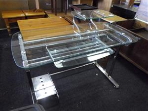 Steel Framed Glass Computer Stand