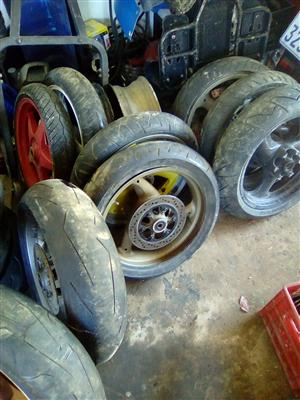 DUCATI/APRILIA/TRUIMP RIMS FROM 1500 AND TIRES  TO CLEAR FROM R700 @CLIVES BIKES IMPORTS