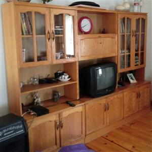 Oak TV/Wall unit