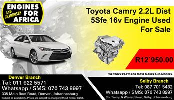 Toyota Camry 2.2L Dist 5Sfe 16v Engine Used For Sale.