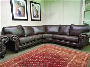 CWA 100% genuine full leather corner lounge suite WAS R 35695 NOW R 28995