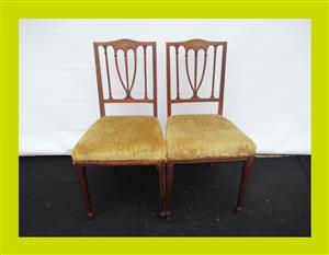 Pair of Victorian Inlaid Mahogany Bedroom Chairs - SKU 474