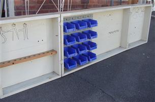 Wooden Tool Box - wall mount with Lin Bins