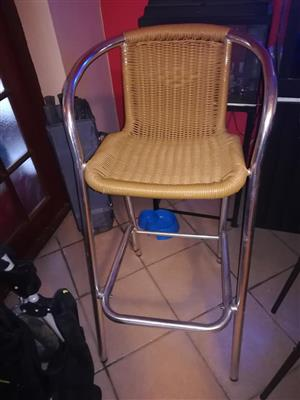 Steel and cane bar chair