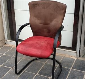 Pre-owned Visitors chair with Red suede seat/brown back
