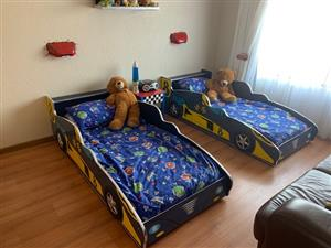 "BARGAIN!!!!!  Two ""Sporty Chilren's Car""  Beds Including Mattresses And a Petrol Filling Pump bookcase R4500"