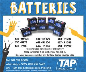 Taxi Batteries- A wide range of New Batteries available at Taxi Auto Parts - TAP
