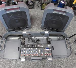 Like New Escort 5000 Peavey 2-Way Self Powered Speakers & DJ Digital Mixer Foldable Roll-Case for Sale...
