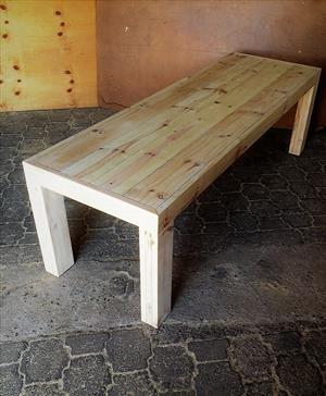 Patio table Chunky Farmhouse series 2500 Slimline with pillar legs - Raw