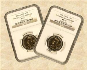 10200 x Mandela 90 Birth Day 2008 R5 graded by NGC coins (Grades MS67, 66, 65) for sale  Johannesburg - Central