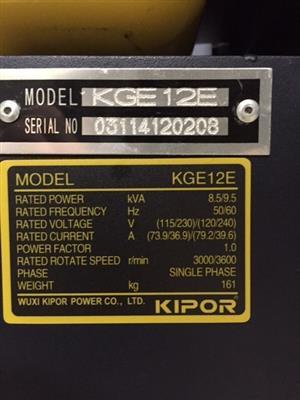 Kipor KGE12E twin cylinder 8.5kVA petrol generator