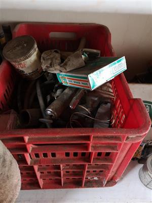 Crate full of garage tools