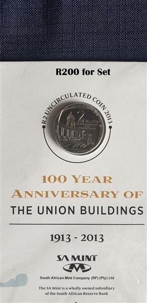 100 Years Anniversary of the Union Buildings R2 uncirculated 2013 Coin