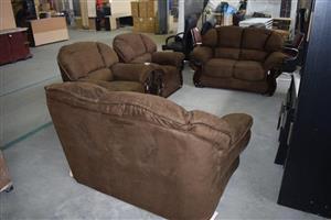 4 Piece brown suede lounge suite