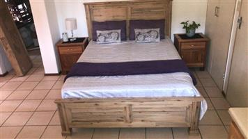 CORICRAFT CRESTIHILL SLEIGH BED & 2 TEAK PEDASTAILS. BED IN BOX, BRAND NEW NOT USED