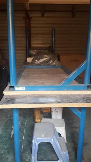 2 Steel foot wooden top tables for sale
