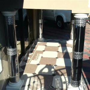 Shinny stainless steel pillar covers and stainless gates and balustrade