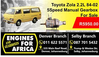 Toyota Zola 2.2L 84-02 5Speed Manual Gearbox For Sale