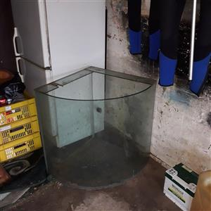 Curved faced fish tank in need of repair for sale