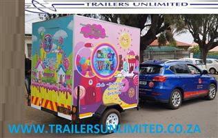 TRAILERS UNLIMITED (PTY) LTD. 2000 X 1800 X 2000. MOBILE SWEETS SHOP.