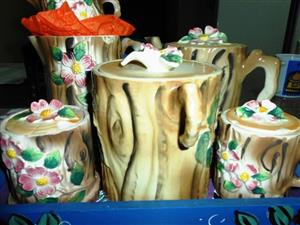 Vintage Tree Trunk Tea Set for sale