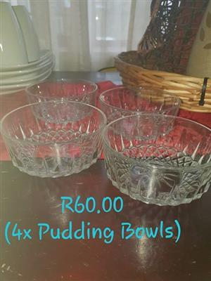 4 Glass pudding bowls for sale