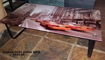 Glass printed coffee table