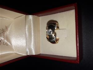9 ct Yellow and White polished Gold Handmade Diamond Ring