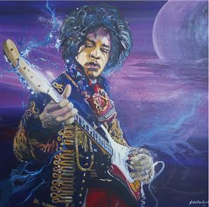 """""""Jimmy Hendrix print"""" from the original painting for sale"""