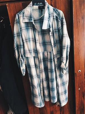 Blue and white long sleeve shirt
