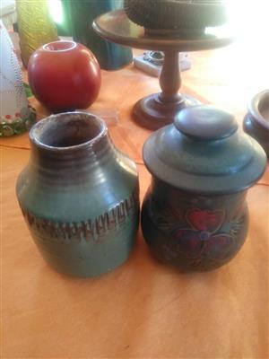 Green vases with lids for sale