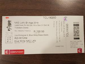 NAG LAN @ rAge ticket for sale  (R700)
