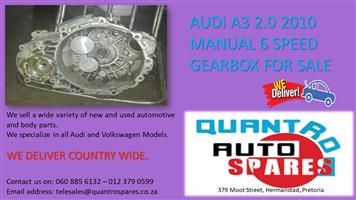 AUDI A3 2.0 2010 MANUAL 6 SPEED GEARBOX FOR SALE