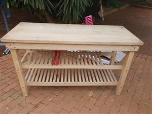 Light wooden pine table with shelves