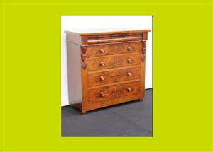 Victorian Mahogany Two Short over Three Long Drawers Chest of Drawers - SKU 669