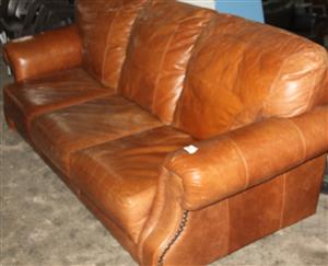 S034274A 3 Piece brown leather couch #Rosettenvillepawnshop