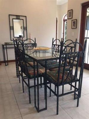 Dining Set Wrought Iron (1600 x 850) -6 Seater Table / server / mirror