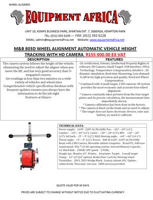 M&B 803D WHEEL ALIGNMENT AUTOMATIC VEHICLE HEIGHT TRACKING WITH HD CAMERA